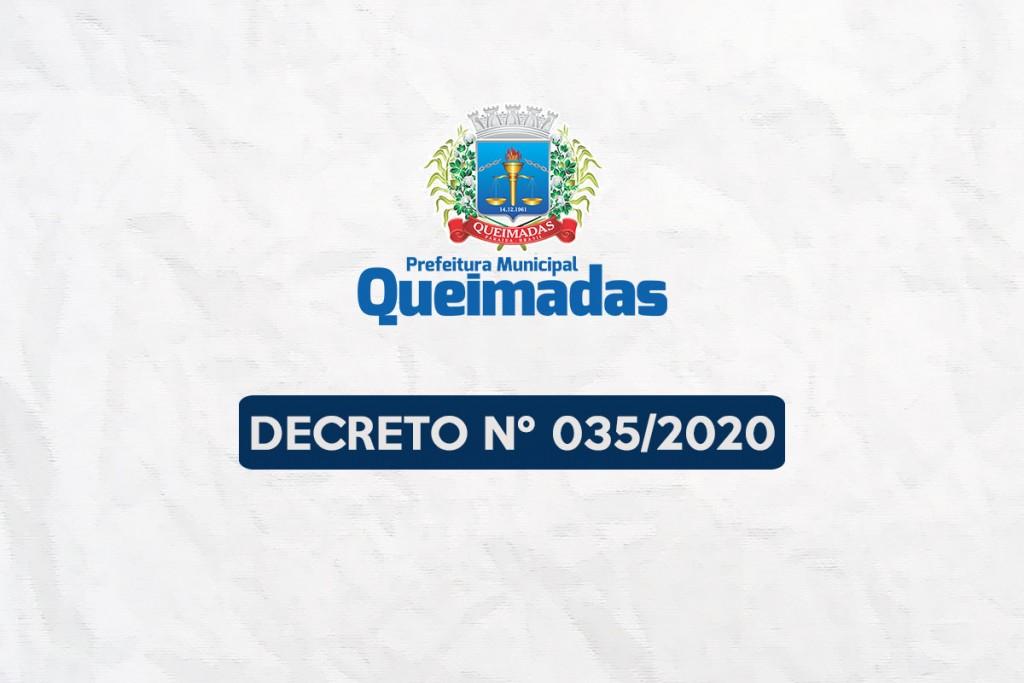 Decreto Municipal nº 035/2020 prorroga suspensão das aulas presenciais até 30 de agosto e dá outras providências