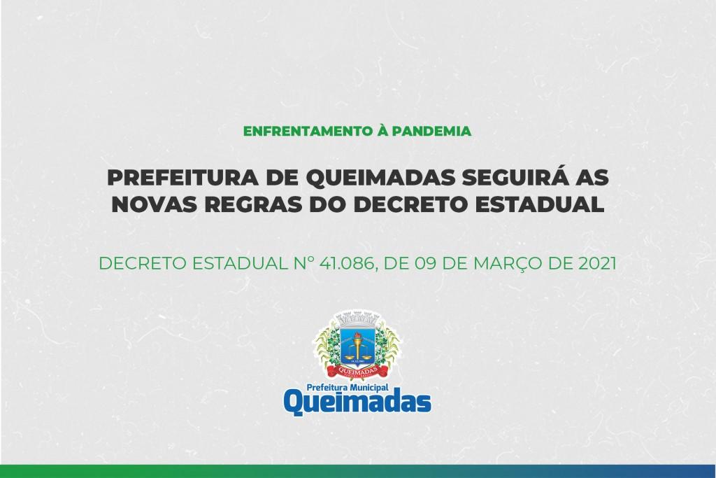 Prefeitura de Queimadas seguirá o decreto do Governo do Estado para enfrentamento da pandemia