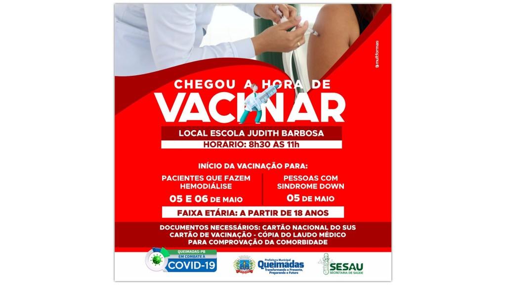 Secretaria de Saúde inicia vacinação para pessoas com síndrome de Down e pacientes de hemodiálise