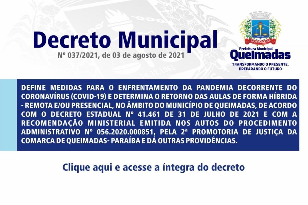 Prefeitura de Queimadas determina retorno das aulas presenciais na modalidade de ensino híbrido a partir de 09 de agosto