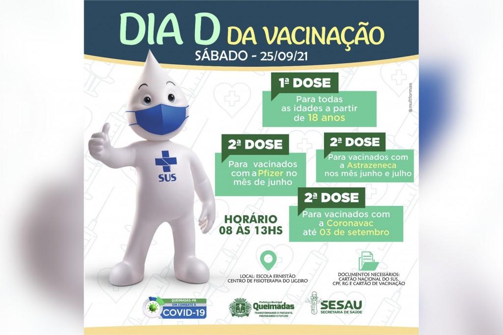 Queimadas-PB realiza Dia D da vacina contra a covid-19 no próximo sábado