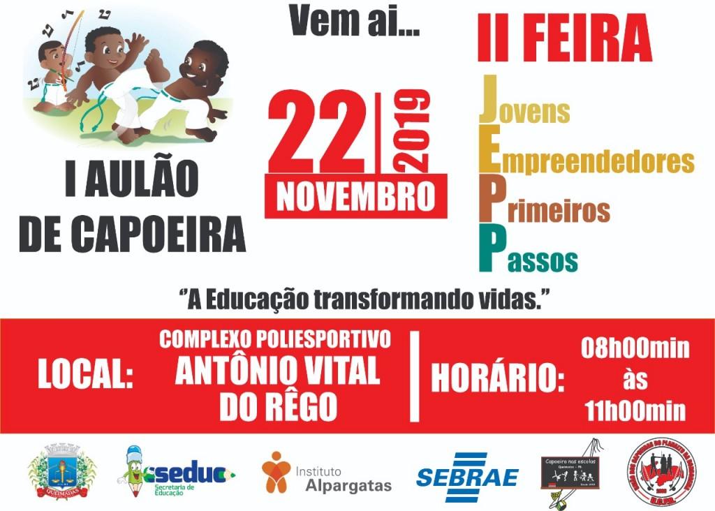 Secretaria de Educação promove aulão de capoeira e feira de jovens empreendedores na próxima sexta-feira