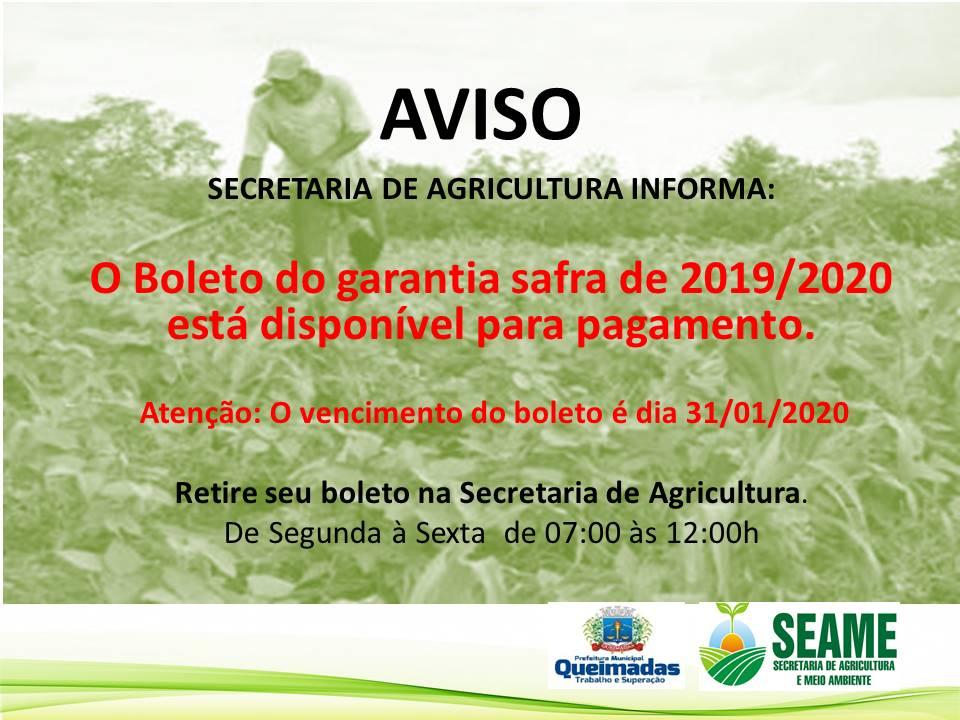 Boletos do Garantia Safra já estão disponíveis na Secretaria de Agricultura e Meio Ambiente