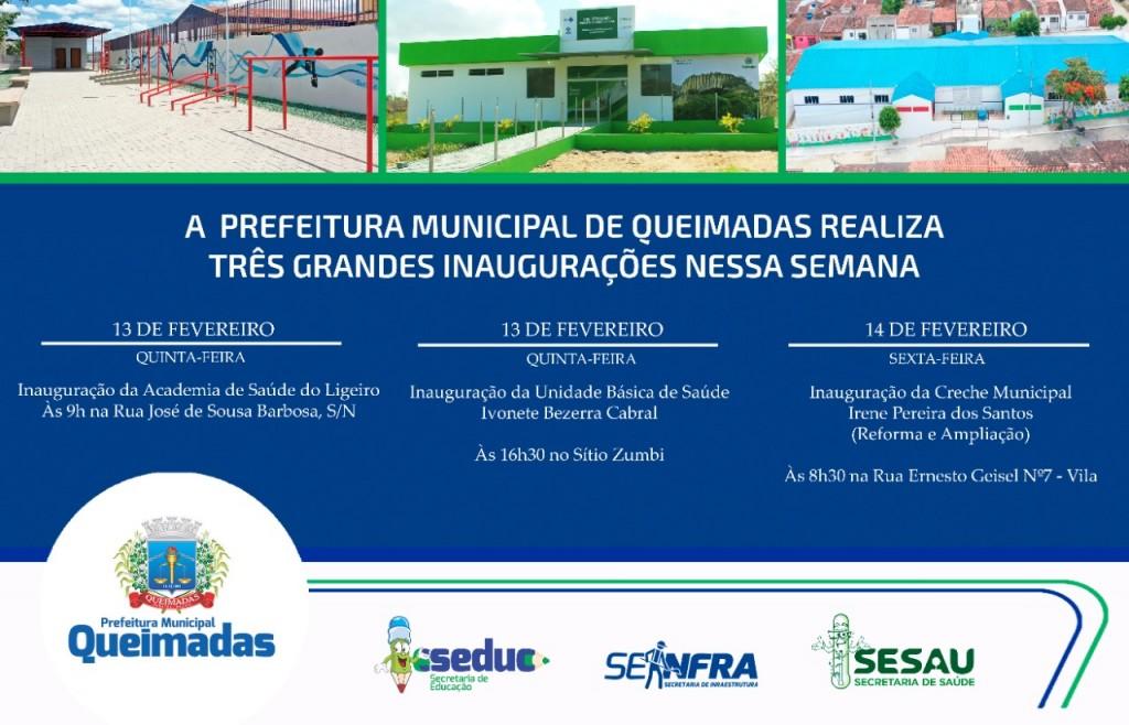 Prefeitura de Queimadas realiza três grandes inaugurações nesta semana