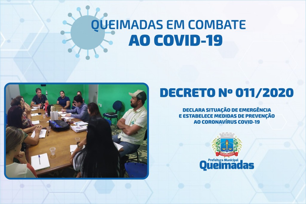 Prefeitura de Queimadas-PB decreta situação de emergência e medidas preventivas contra o coronavírus COVID-19