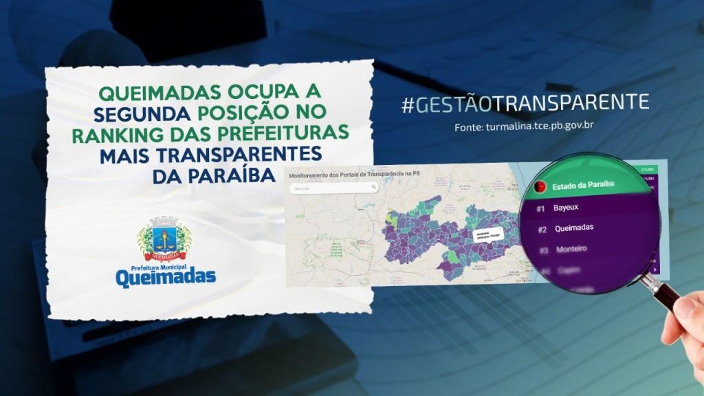 Queimadas ocupa a segunda posição no ranking das prefeituras mais transparentes da Paraíba