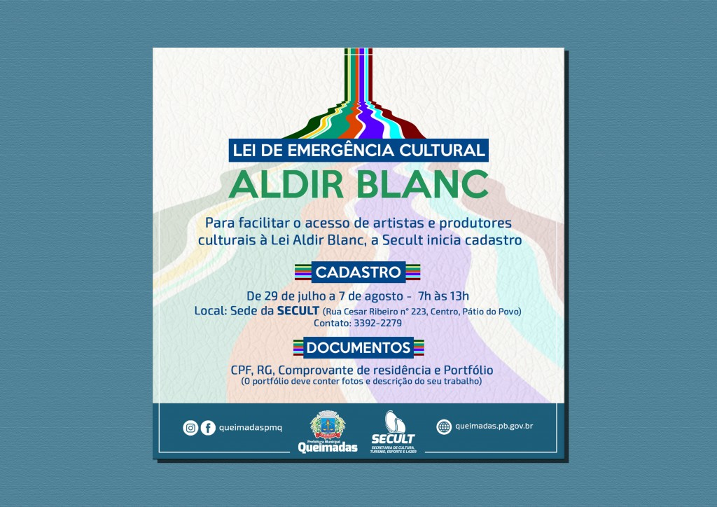 Secult inicia cadastramento de artistas e produtores culturais para acesso à Lei Aldir Blanc