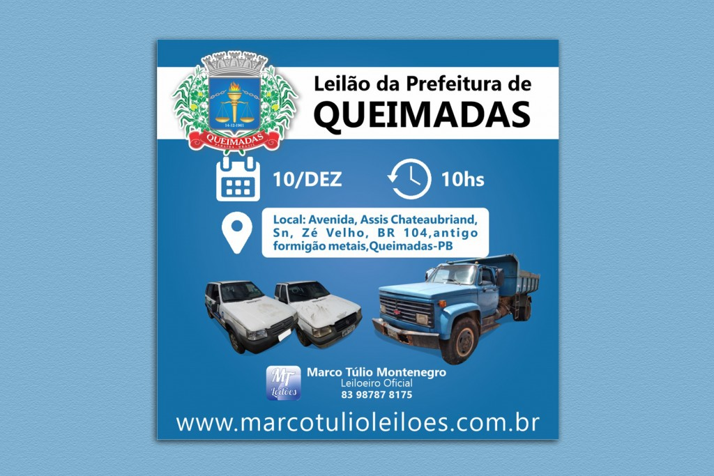 Prefeitura de Queimadas realizará leilão de veículos, máquinas e materiais inservíveis