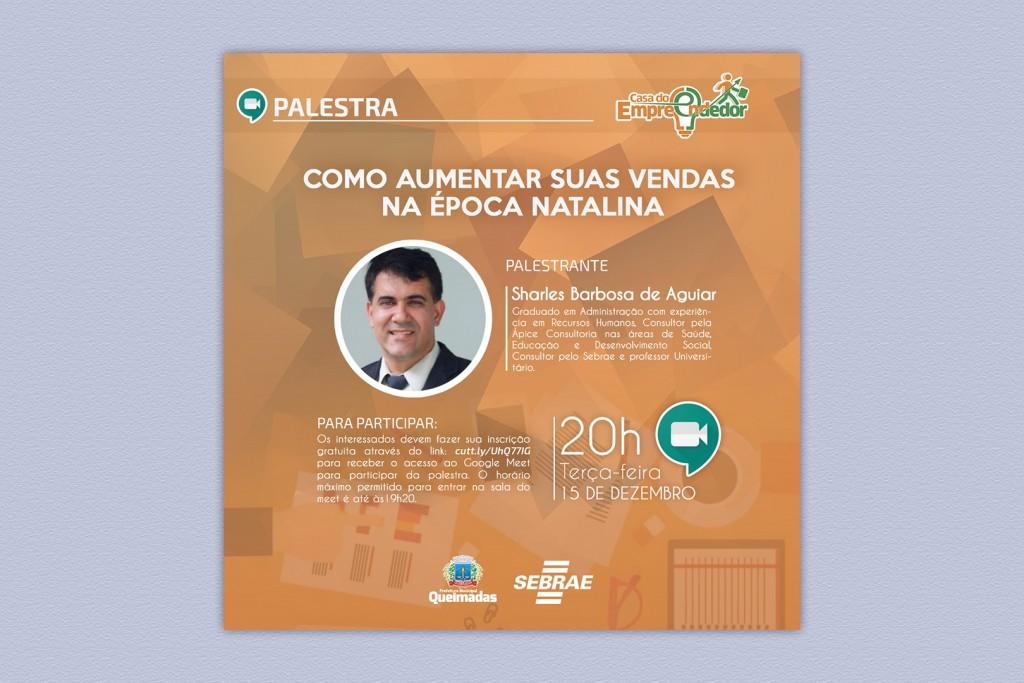 """Casa do Empreendedor e SEBRAE promovem palestra virtual """"Como aumentar suas vendas na época natalina"""""""