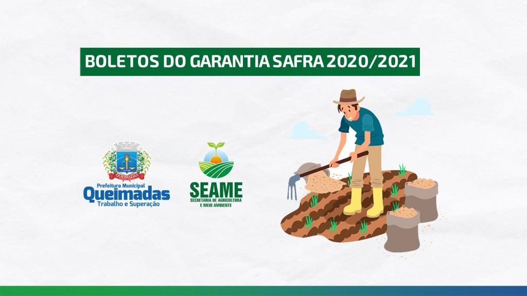 BOLETOS DO GARANTIA SAFRA/2021 2020 JÁ ESTÃO DISPONÍVEIS NA SECRETARIA DE AGRICULTURA E MEIO AMBIENTE