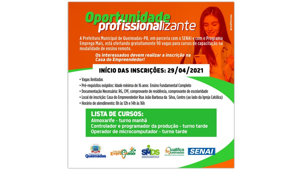 Prefeitura de Queimadas e SENAI ofertam vagas para cursos profissionalizantes