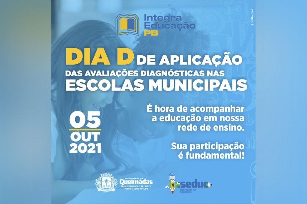Município de Queimadas realiza o Dia D das avaliações do Programa Integra Educação Paraíba no dia 05 de outubro